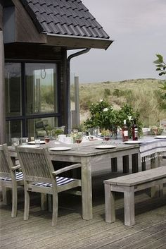 Zeewind, Vlieland where to stay on Vlieland Hygge, Villas, Outdoor Spaces, Outdoor Living, Table Teck, Al Fresco Dining, Coastal Living, Bed And Breakfast, Pools