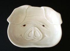 "Fitz & Floyd ""Porky"" Pig Dish - Vintage 1970s Porcelain Kitschy Piggy - Hog Ashtray Pin Dish Change DIsh by SusansShopSelections on Etsy"