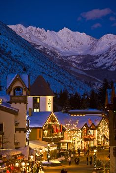 Ski Vacation Destination Guide: Vail, America's Biggest Ski Resort ~~Vail Village at twilight ~ Vail, Colorado Photo: Jack Affleck, Vail Resorts~~close to home Ski Vacation, Vacation Destinations, Dream Vacations, Vacation Spots, Vail Colorado, Colorado Trip, Denver Colorado, Places Around The World, Oh The Places You'll Go