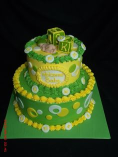 Forget the fact that it is a baby shower cake, and switch the green and white placement...