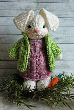 Hand Knitted Bunny Rabbit with Woolen Dress and Jacket