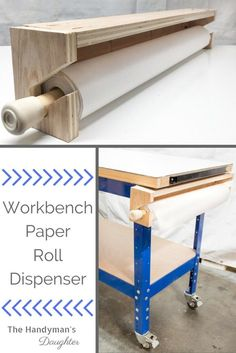 Woodworking Shop This DIY workbench paper roll dispenser is perfect for keeping your work surface free of paint drips and spills! Workbench Organization, Woodworking Workbench, Woodworking Furniture, Fine Woodworking, Woodworking Crafts, Diy Furniture, Workbench Ideas, Garage Workbench, Woodworking Basics