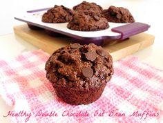 Healthy Double Chocolate Oat Bran Muffins | http://pinkrecipebox.com