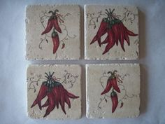 chilli pepper kitchen decor | Hot Chili Pepper Coasters by CreativeCoasterChick on Etsy