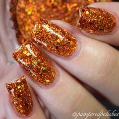 Sparkly Nails, Gold Nails, Glitter Nails, Glitter Bomb, Pink Glitter, Fall Gel Nails, Fall Acrylic Nails, Cute Nails For Fall, Orange Nail Designs