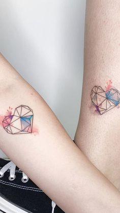 87 Unique & Varicolored tattoo designs can more enhance the sense of three-dimen. - 87 Unique & Varicolored tattoo designs can more enhance the sense of three-dimen… – – - Bff Tattoos, Friend Tattoos, Mini Tattoos, Couple Tattoos, Body Art Tattoos, Small Tattoos, Tatoos, Partner Tattoos, Meaning Tattoos