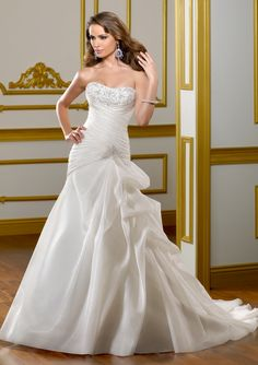 #MoriLee Style 1816 - Satin organza with embroidery.  Colors Available: White/Silver, Ivory/Silver.