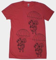 Parachuting Squirrels Womens ORGANIC TShirt Small by MisNopalesArt, $19.00