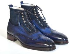 Wingtip perforated men's lace up boots Blue suede & leather upper Rubber sole with a leather layer. Cream leather lining and inner sole This is a made-to-or