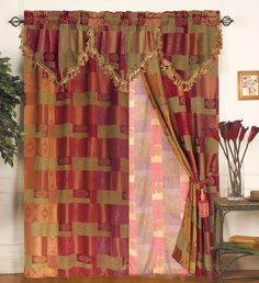 Attached Valance Curtain Patterns Details About Moroccan Tapestry Set W Sheer