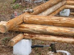 Good illustration of the butt and pass method of log cabin building.
