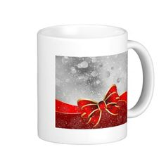 Silver Glitter And Red Christmas Sparkles Bow Coffee Mugs