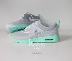 Nike Air Max Thea shoes w/Swarovski Crystals detail - gray - tiffany mint