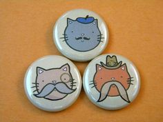 Kittens with Mustaches Button Set. $4.00, via Etsy.