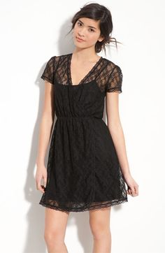 Frenchi® Layered Lace Faux Wrap Dress (Juniors) | Nordstrom