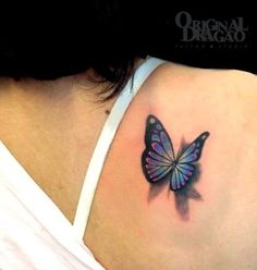 Butterfly Tattoo 3D. I want a tattoo on the back of my right shoulder  ?