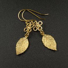vermeil gold leaf charm drop earrings  handmade vermeil gold