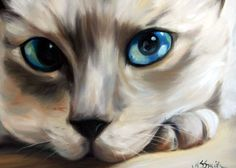 Mary Sparrow Smith from Hanging the Moon – cat art, pets, portrait, paintings, gift ideas, home decor. Siamese Cat