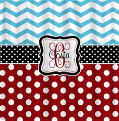 Personalized Shower Curtain Blue ChevronRed Polka by redbeauty - can customize - make chevron in black & white or red & white