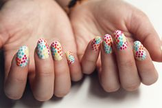 All you need to master this fun nail art is tooth pick!