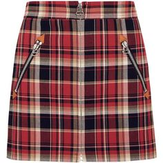 rag & bone Leah tartan cotton mini skirt (227.100 CRC) ❤ liked on Polyvore featuring skirts, mini skirts, red, tartan mini skirt, red tartan skirt, plaid miniskirts, cotton short skirts and cotton skirts