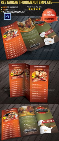 Pizza \/ Restaurant Menu Pizza restaurant, Menu templates and - food menu template