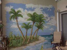 Nice Hand Painted Living Room Beach Wall Murals