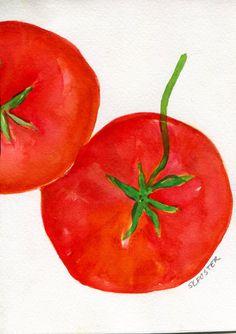 Tomatoes Watercolors Paintings Original , Small Fruit Painting, Kitchen  Wall Art 5 X 7 Original
