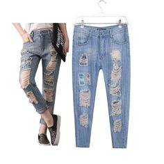 ed9beabf92adf Women s fashion casual brand big plus size clothing denim hole ripped jeans  pants trousers for female-in Jeans from Women s Clothing   Accessories on  ...