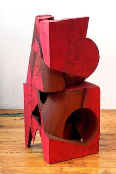 Untitled by Mel Kendrick, wood and japan color, 32 x 12 1/2 x 12 1/2 inches