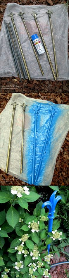 DIY:  Garden Hose Guides - spray painted curtain rods, placed at the edge of a flower bed, help to protect your flowers from getting lopped off by the hose.