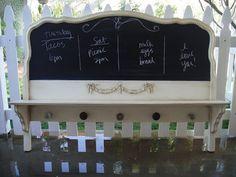 """Old headboard turned memo chalkboard! ♥♥  +""""~:;,"""