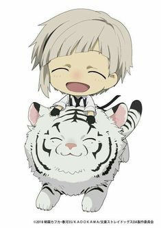Weretigers and white tigers unite for a special collaboration event between Tobu Zoo in Miyashiro, Saitama Prefecture, Japan and Bungo Stray Dogs DEAD APPLE, an upcoming theatrical anim Cute Anime Chibi, Kawaii Chibi, Anime Kawaii, Bungou Stray Dogs Wallpaper, Dog Wallpaper, Dazai Bungou Stray Dogs, Stray Dogs Anime, Fire Emblem, Anime Manga