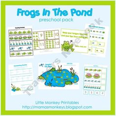 Frogs In The Pond Preschool Pack from Little Monkeys Printable