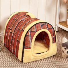 Pet Dog Cat House Kennel Nest With Mat