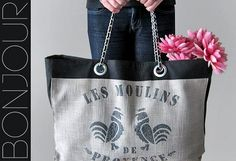 Tutorial: French feedsack tote with Chanel-inspired chain handles