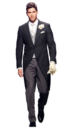 """Jaquette   """"morning  dress""""   Replace  Frack /white  tie  before lunch.  and it shall look  EXATLY like this  Cylinderhat is never  wrong"""