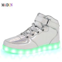 2017 Mens Leather led White Color Jazz Dance Shoes Lace-up night Street Dancing ballroom Sneakers Black Unisex Free Ship shoes