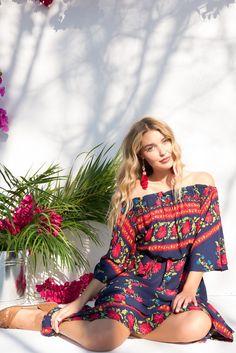 Mimosa Gypsy Navy Off the Shoulder Trumpet Sleeve Maxi Dress – Mombasa Rose