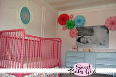 pink crib and pale pink walls - love the striped ceiling!