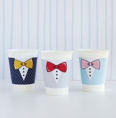 Printable Tuxedo Cup   Decoração Para Copos de Festa