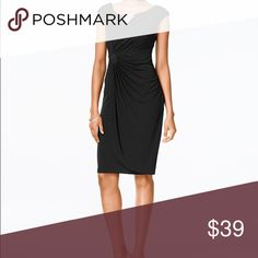 Conenected petite chain link draped dress Conenected petite chain link draped dress, imported ,polyester/spandex, hand wash,hits at knee connected Dresses Midi
