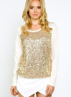 sequin sweater #pullover #sequins #gold #sweatshirt
