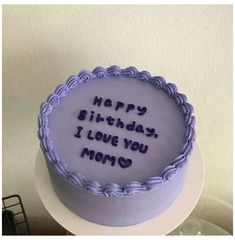 Pastel Cakes, Purple Cakes, Pretty Birthday Cakes, Pretty Cakes, Cake Birthday, Birthday Cake Decorating, Simple Cake Decorating, Happy Birthday, Mini Cakes