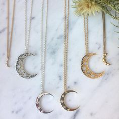 New Moon necklaces have now been added to our website shop. The two in the middle here are limited numbers and exclusive to and set with five white natural zircons x Moon Necklace, New Moon, Precious Metals, Eye Candy, Numbers, Two By Two, Middle, Gems, Necklaces