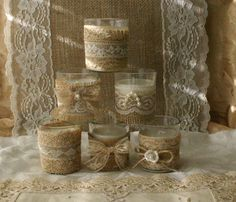Burlap and lace tea candles,Wedding tea candles, French Country wedding vase, Vintage wedding, on Etsy, $32.00
