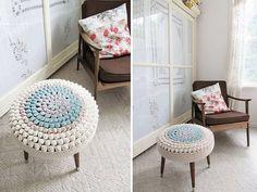 Crocheted footstool