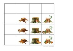 Tiles for the mushroom by stump matrix game. Find the belonging board on Autismespektrum on Pinterest. By Autismespektrum.