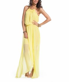 Look at this Yellow Sheer Blouson Maxi Dress on #zulily today!