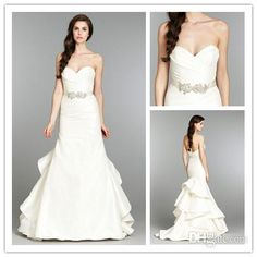 Wholesale Wedding Dresses - Buy 2014 New Arrival Sweetheart Mermaid Vintage Wedding Dresses with Sash Shiny Beads Pleats Ruffles JLM Noble Elegant Taffeta Bridal Gowns 5, $182.0 | DHgate
